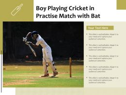 Boy Playing Cricket In Practise Match With Bat