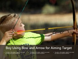 Boy Using Bow And Arrow For Aiming Target
