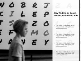 Boy Walking By Board Written With Block Letter