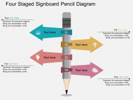 bp Four Staged Signboard Pencil Diagram Flat Powerpoint Design