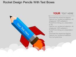 bp Rocket Design Pencils With Text Boxes Flat Powerpoint Design