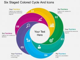 bp Six Staged Colored Cycle And Icons Flat Powerpoint Design