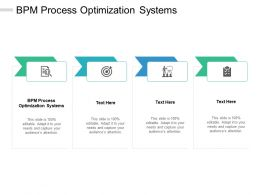 BPM Process Optimization Systems Ppt Powerpoint Presentation Outline Clipart Cpb