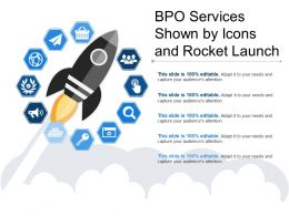 Bpo Services Shown By Icons And Rocket Launch