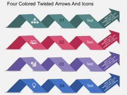 bq Four Colored Twisted Arrows And Icons Flat Powerpoint Design