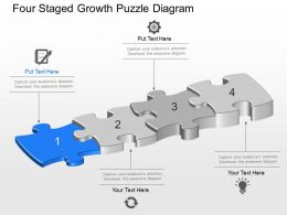 Bq Four Staged Growth Puzzle Diagram Powerpoint Template Slide