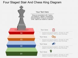 bq Four Staged Stair And Chess King Diagram Flat Powerpoint Design