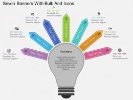 bq Seven Banners With Bulb And Icons Flat Powerpoint Design