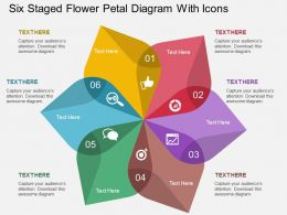 bq Six Staged Flower Petal Diagram With Icons Flat Powerpoint Design