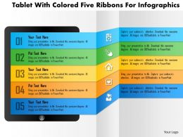 Bq Tablet With Colored Five Ribbons For Infographics Powerpoint Templets