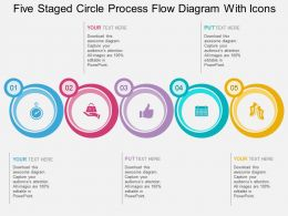 br Five Staged Circle Process Flow Diagram With Icons Flat Powerpoint Design
