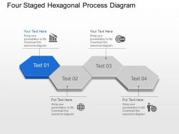 Br Four Staged Hexagonal Process Diagram Powerpoint Template Slide