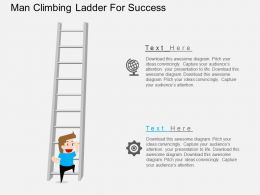 br Man Climbing Ladder For Success Flat Powerpoint Design