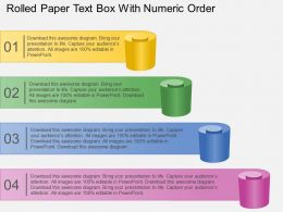Br Rolled Paper Text Box With Numeric Order Powerpoint Template