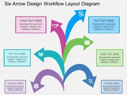 br Six Arrow Design Workflow Layout Diagram Flat Powerpoint Design