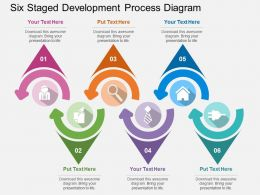 br Six Staged Development Process Diagram Flat Powerpoint Design