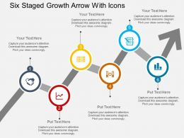 br Six Staged Growth Arrow With Icons Flat Powerpoint Design