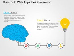 Brain Bulb With Apps Idea Generation Flat Powerpoint Design