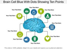 Brain Cell Blue With Dots Showing Ten Points