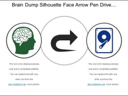 Brain Dump Silhouette Face Arrow Pen Drive Hard Disk