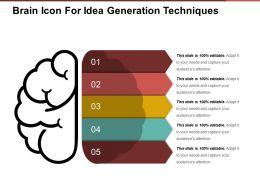Brain Icon For Idea Generation Techniques Sample Of Ppt Presentation