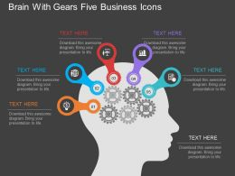 Brain With Gears Five Business Icons Flat Powerpoint Design