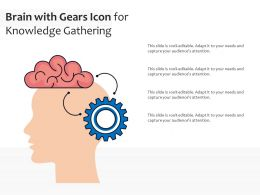 Brain With Gears Icon For Knowledge Gathering