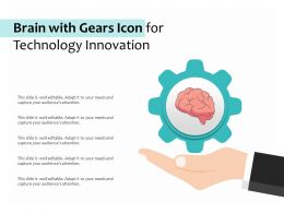 Brain With Gears Icon For Technology Innovation