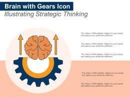Brain With Gears Icon Illustrating Strategic Thinking