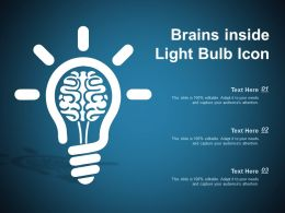 Brains Inside Light Bulb Icon