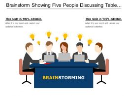 Brainstorm Showing Five People Discussing Table Document And Bulb