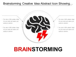 Brainstorming Creative Idea Abstract Icon Showing Brain And Bolt