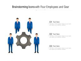 Brainstorming Icons With Four Employees And Gear