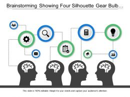 Brainstorming Showing Four Silhouette Gear Bulb And Magnifying Glass
