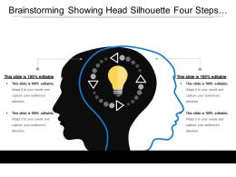 Brainstorming Showing Head Silhouette Four Steps And Bulb