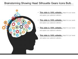 Brainstorming Showing Head Silhouette Gears Icons Bulb And Dollar