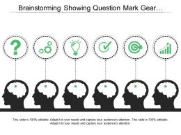 Brainstorming Showing Question Mark Gear Bulb Target Icon And Bar Graph