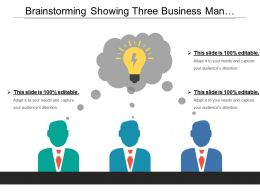 Brainstorming Showing Three Business Man Thinking And Bulb
