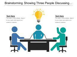 Brainstorming Showing Three People Discussing And Bulb