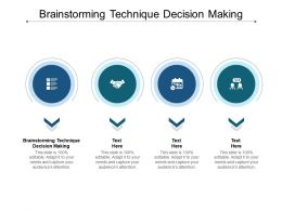Brainstorming Technique Decision Making Ppt Powerpoint Icons Cpb