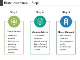 Brand Awareness Steps Powerpoint Slide Designs