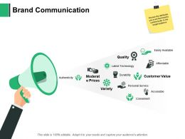 Brand Communication Quality Variety Ppt Powerpoint Presentation Portfolio Vector