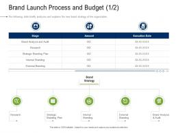 Brand Launch Process And Budget Business Development And Marketing Plan Ppt Elements