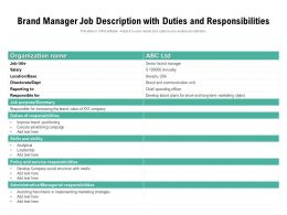 Brand Manager Job Description With Duties And Responsibilities