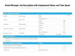 Brand Manager Job Description With Employment Status And Time Spent