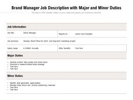 Brand Manager Job Description With Major And Minor Duties