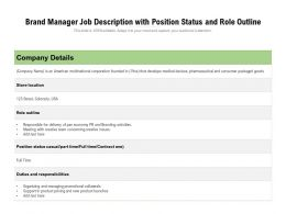 Brand Manager Job Description With Position Status And Role Outline