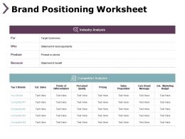 Brand Positioning Worksheet Competitor Analysis B299 Ppt Powerpoint Presentation File