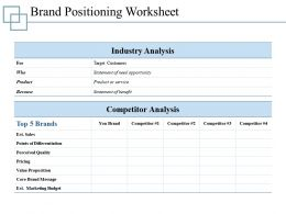 Brand Positioning Worksheet Presentation Ideas Template 1