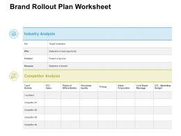Brand Rollout Plan Worksheet Ppt Powerpoint Presentation Styles